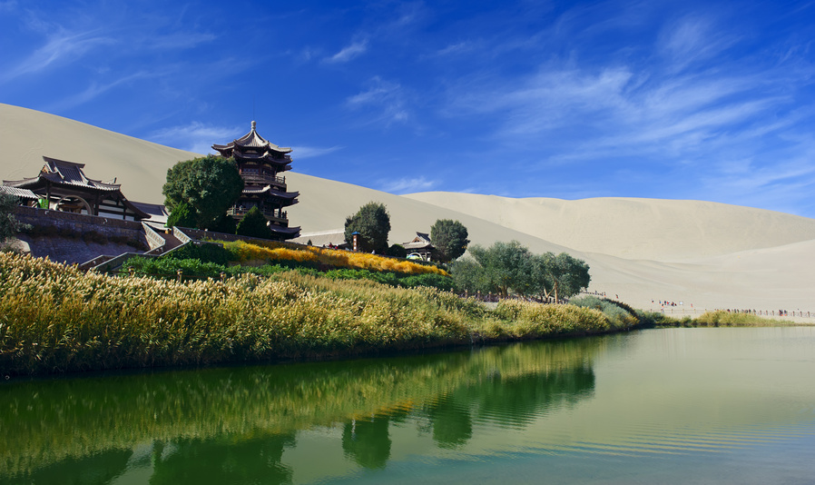 The Crescent Spring in Dunhuang,China