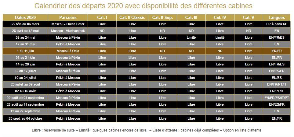 Calendrier 2020 Train Or des Tsars